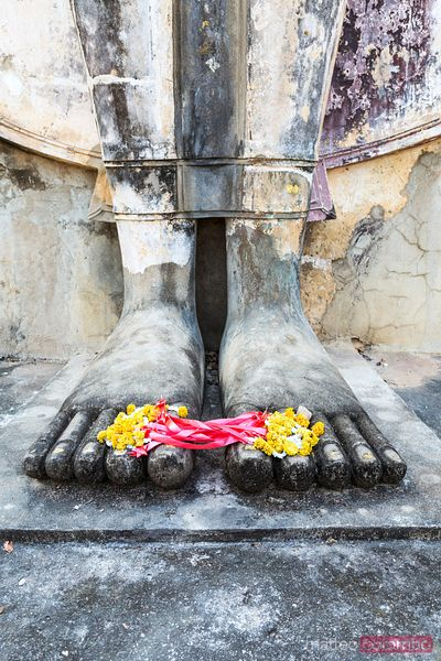 Detail of Buddha feet with floreal offering, Sukhothai, Thailand