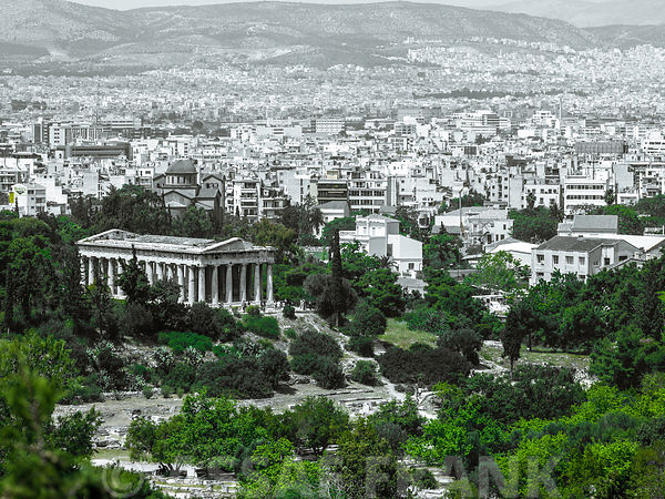 Elevated view of the Temple of Hephaestus, Athens, Greece