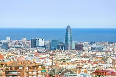 high angle view of the city with Agbar tower, Barcelona, Spain