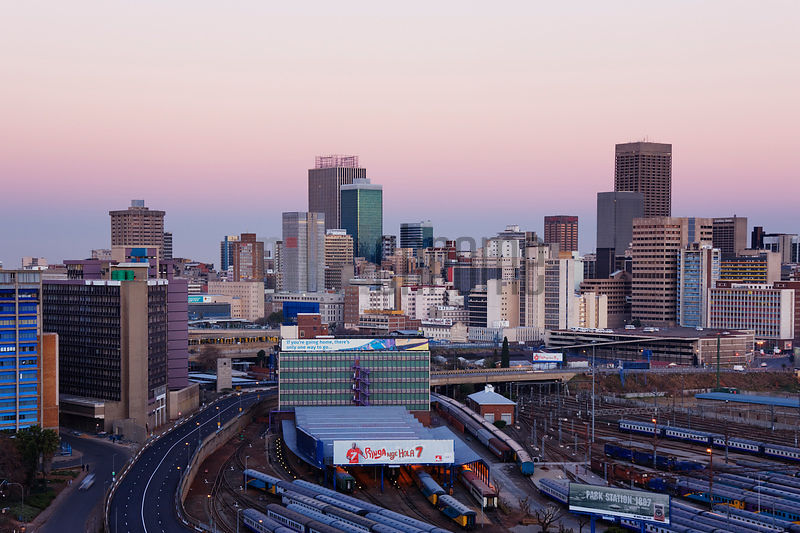 Johannesburg Skyline  at Dusk Gauteng Province South Africa