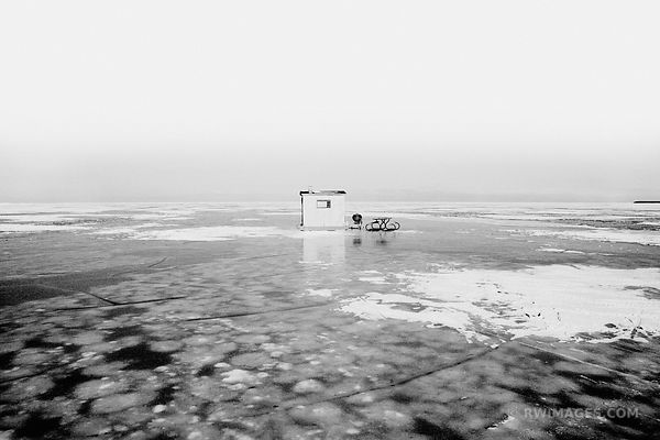 FISHING SHACK FROZEN LAKE MICHIGAN WASHINGTON ISLAND DOOR COUNTY WINTER