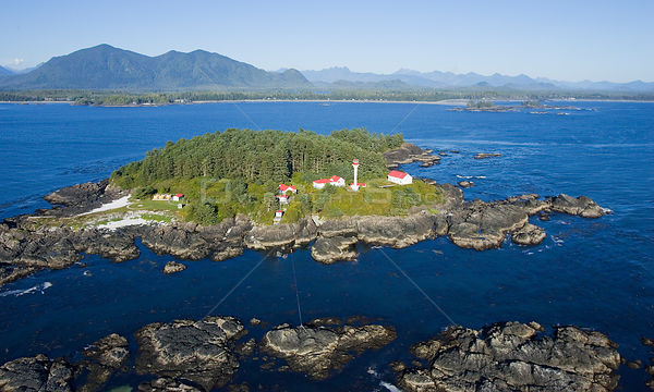 Aerial view of Lennard Lighthouse, Clayoquot Sound, Vancouver Island, British Columbia, Canada