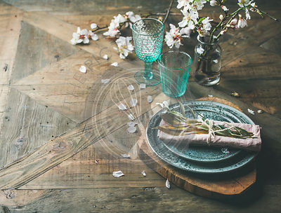 Spring Easter holiday Table setting over wooden background