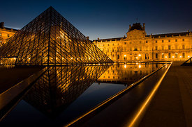 Louvre Museum before dawn, Paris