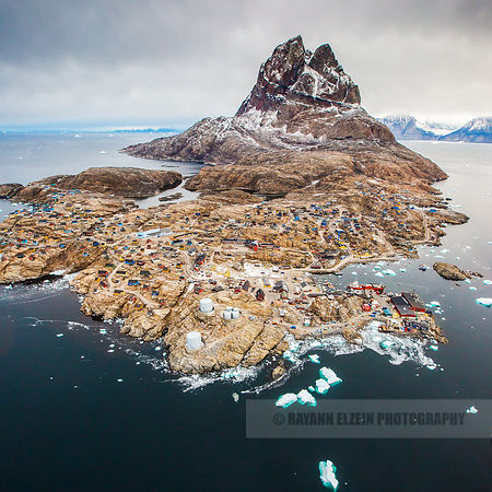 Aerial view of Uummannaq just before landing on board an Air Greenland helicopter