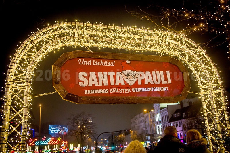 Entrance to the Santa Pauli Christmas Market in St Pauli