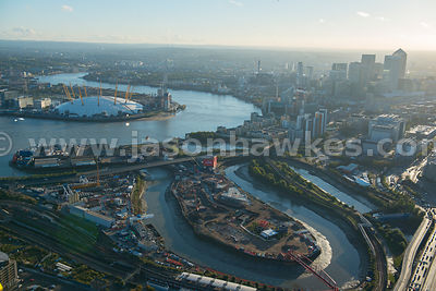 Aerial view of the Greenwich Peninsula, London