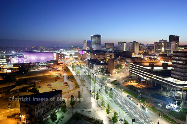 Eastside area of Birmingham.  View from Masshouse development to the Selfridges, Rotunda and Bullring buildings. Night citysc...