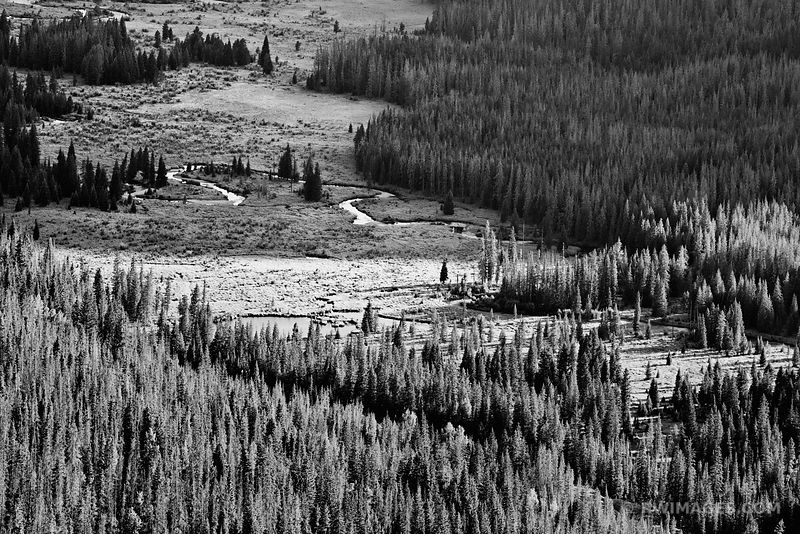 FAIRVIEW CURVE VIEW TRAIL RIDGE ROAD ROCKY MOUNTAIN NATIONAL PARK COLORADO BLACK AND WHITE