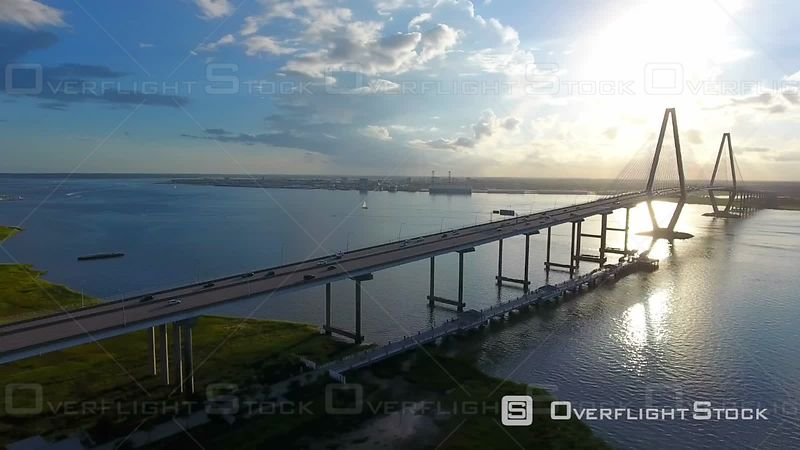 4k Aerial Epic Cinematic of Arthur Ravenel Jr. Bridge Charleston SC