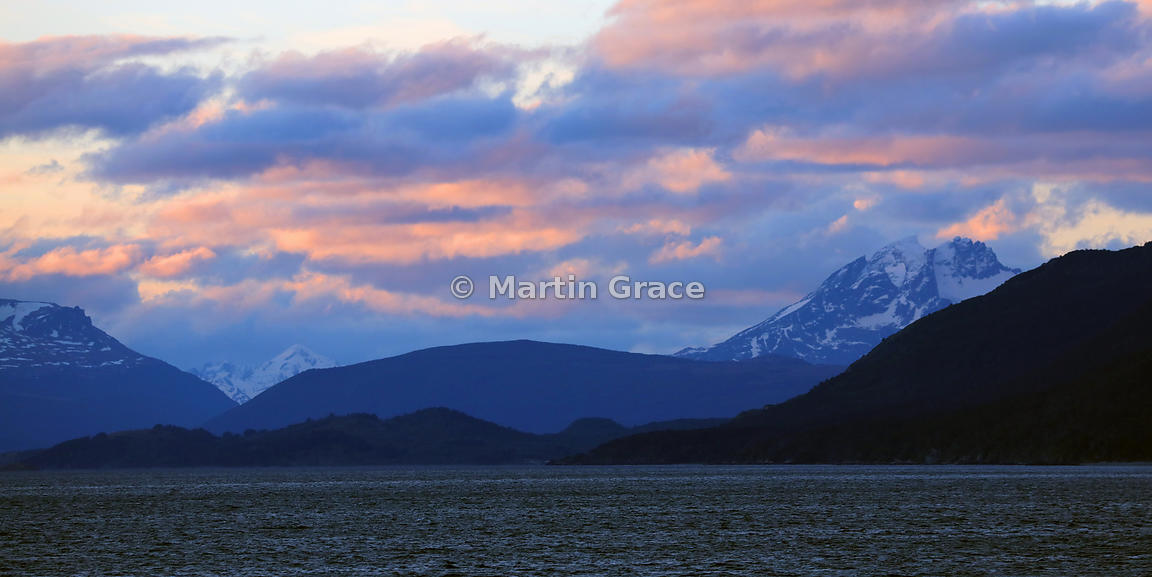 The Beagle Channel at dusk, Tierra del Fuego, Argentina
