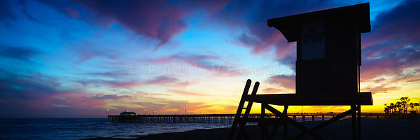 Lifeguard Tower B  Sunset Newport Beach Panorama