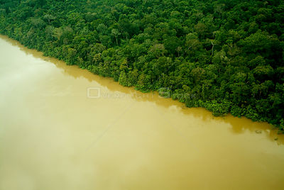 Aerial view of Yavari River and Amazon Rainforest, Peru