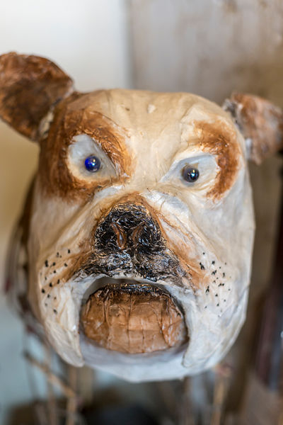 A papier mache dog at The People Tree boutique, Champa Gali, New Delhi, India