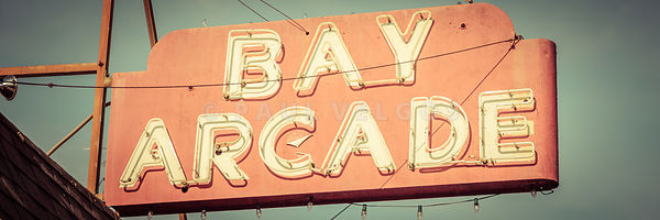 Newport Beach Panoramic Retro Photo of Bay Arcade Sign