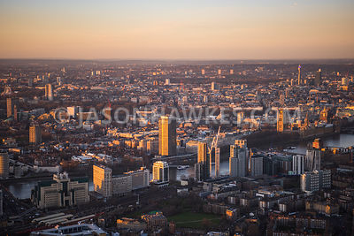 Aerial view of South London, Millbank Tower and Tate Britain from Lambeth.