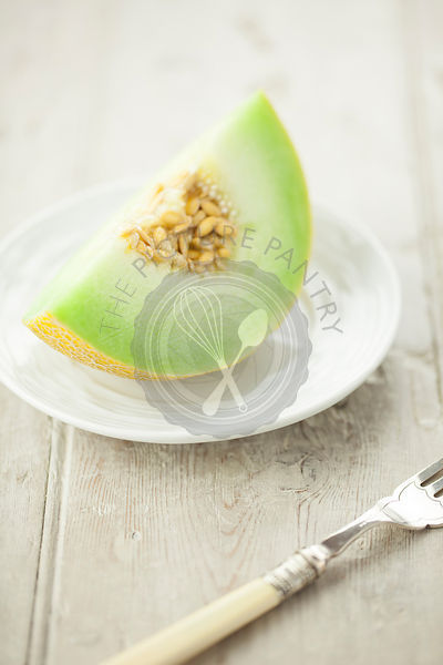 Galia Melon Slice on White Plate