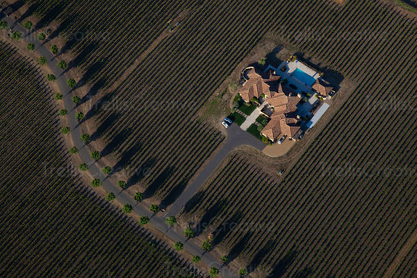 Aerial view of Napa Valley estate among vineyards