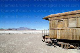 Abandoned old wooden passenger coach outside Avaroa station, Nor Lípez Province, Bolivia