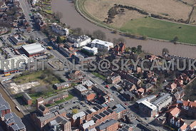 Chester aerial photograph of  Tarvin road and Derelict land near Canal Side with residental housing and business offices near...