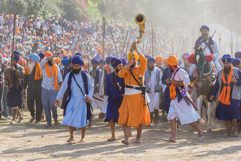 A Parade of Nihang Sikhs Markes the Opening of the Horse Games