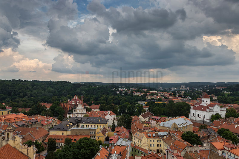 Elevated View of the Old Town of Vilnius from the Church Tower of St Peter