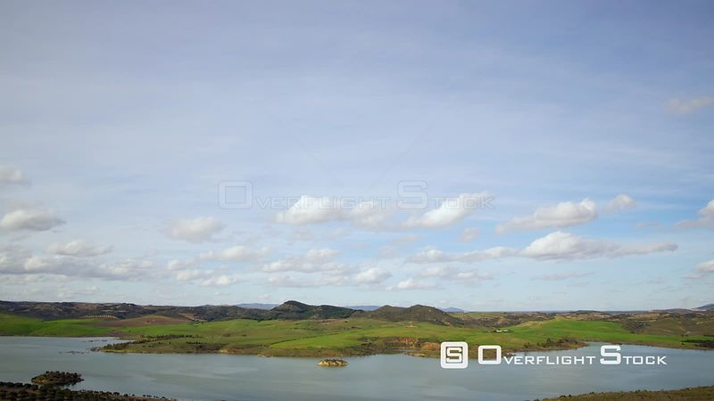 Reservoir and Flooded Area from a Dam Spain, Andalusia