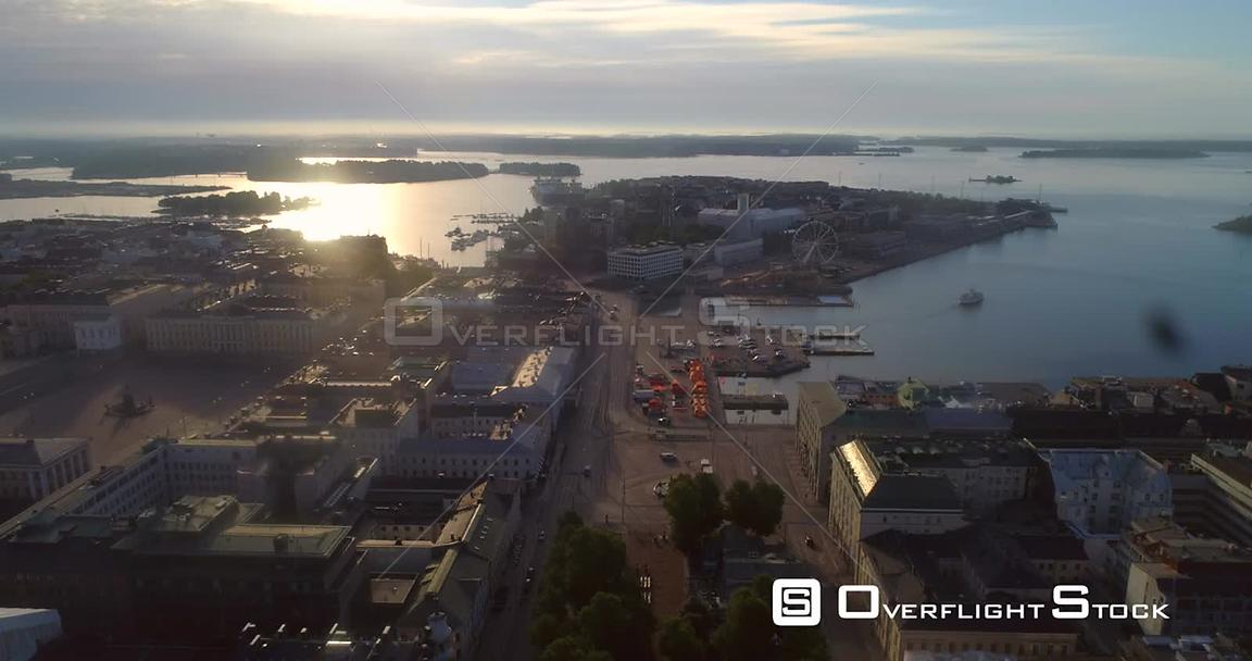 Helsinki City, Aerial View Backwards of Kauppatori Market Square, the South Harbour and Katajanokka Bay, on a Sunny Summer Mo...