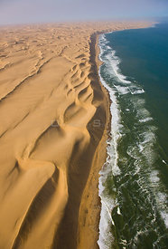 "The ""Long Wall"", aerial view of sand dunes bordering the atlantic coast, near Swakopmund, Namib desert, Namibia, August 2008"