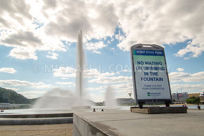 No Wading Sign, Point Park Fountain- Pittsburgh, PA