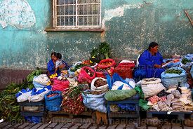 Vegetable stalls in street market, Coroico , North Yungas province, Bolivia