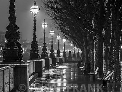 Thames promenade in evening, London, UK