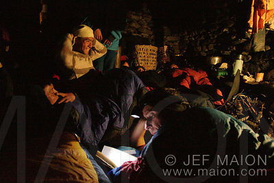 Headlamp reading in a Nepalese hut