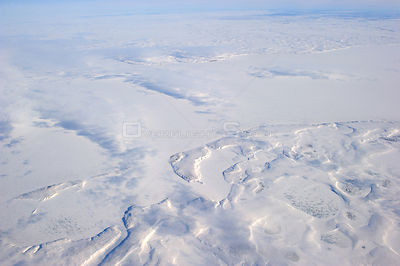 Aerial view of Mackenzie river and delta in winter, North West Territories, Canada, August 2010
