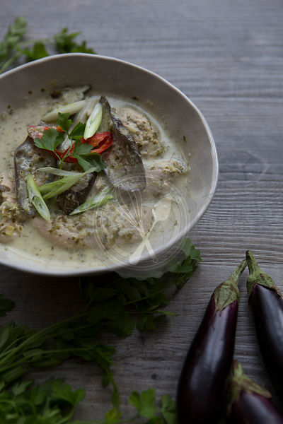 Bowl of Thai Green Curry with Aubergine & Coriander