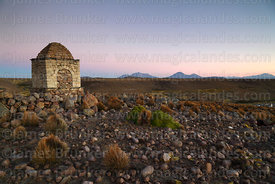 Cairn on hilltop at twilight, Las Vicuñas National Reserve, Region XV, Chile
