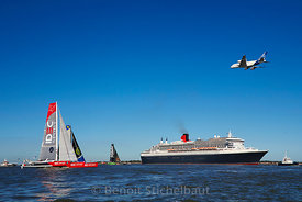 The Bridge 2017 - Saint-Nazaire le 25 juin 2017 - Départ de la Transat du centenaire - Queen Mary 2 et Trimarans Ultime - Pas...