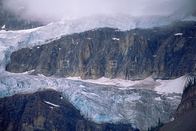 Aerial view of hanging glaciers, Jasper NP, Canada
