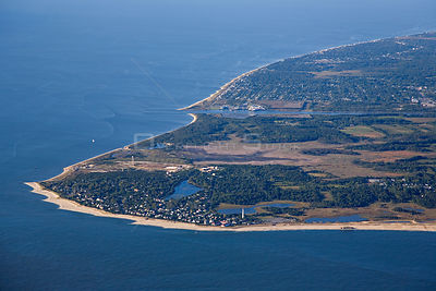 "Aerial view of Cape May Peninsula, an important ""assembly point"" for Monarch butterflies (Danaus plexippus) migrating on thei..."