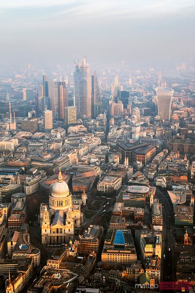 Aerial view of St Paul's cathedral and the City of London
