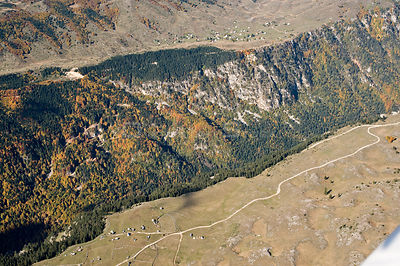 Aerial view of Susica Canyon, Durmitor NP, Montenegro, October 2008