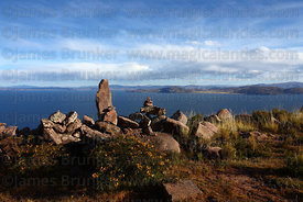 View from summit of Cerro Carus, Capachica Peninsula, Lake Titicaca, Peru