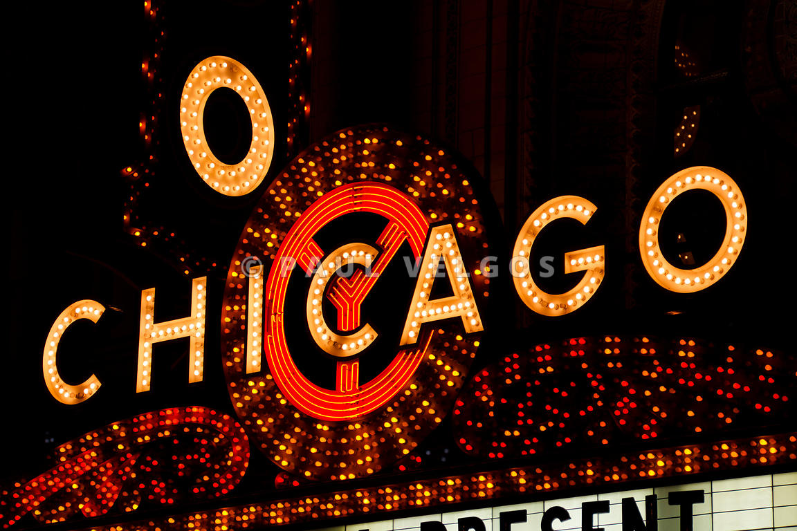 The Chicago Theater Marquee Sign at Night