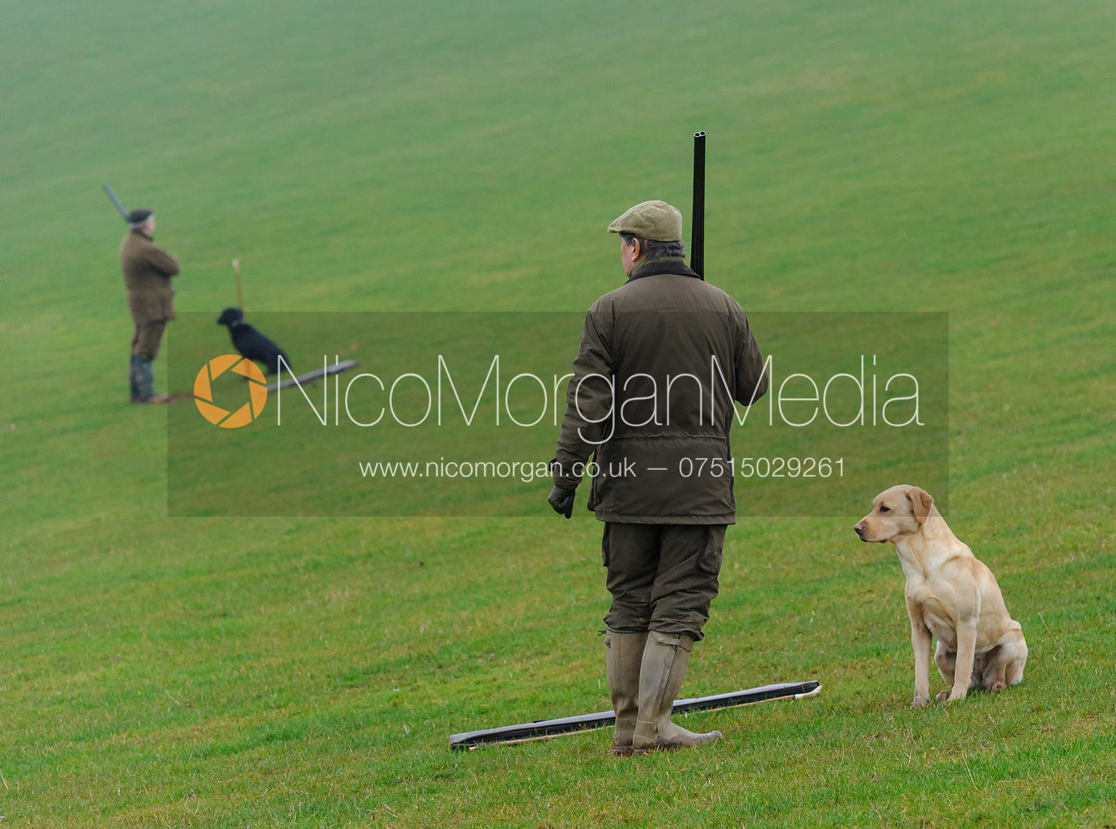 Game shooting images - two shooters with yellow labrador