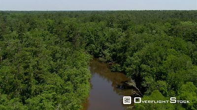 Flight above a clear brown river winding through an Alabama swamp forest