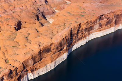 Aerial view of cliffs at the edge of Lake Powell, near Page, Arizona, on the Utah border, USA, February 2015.