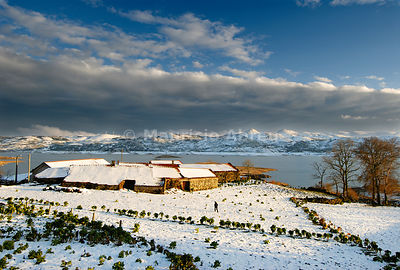 The little village of Penedones, in a snowy day, in the Montalegre region. Trás-os-Montes, Portugal