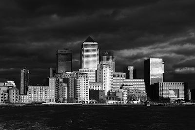 Canary Wharf sunlit from the Thames B&W version
