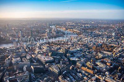 Aerial view of London, Holborn towards Temple and Lincoln Inn Fields.