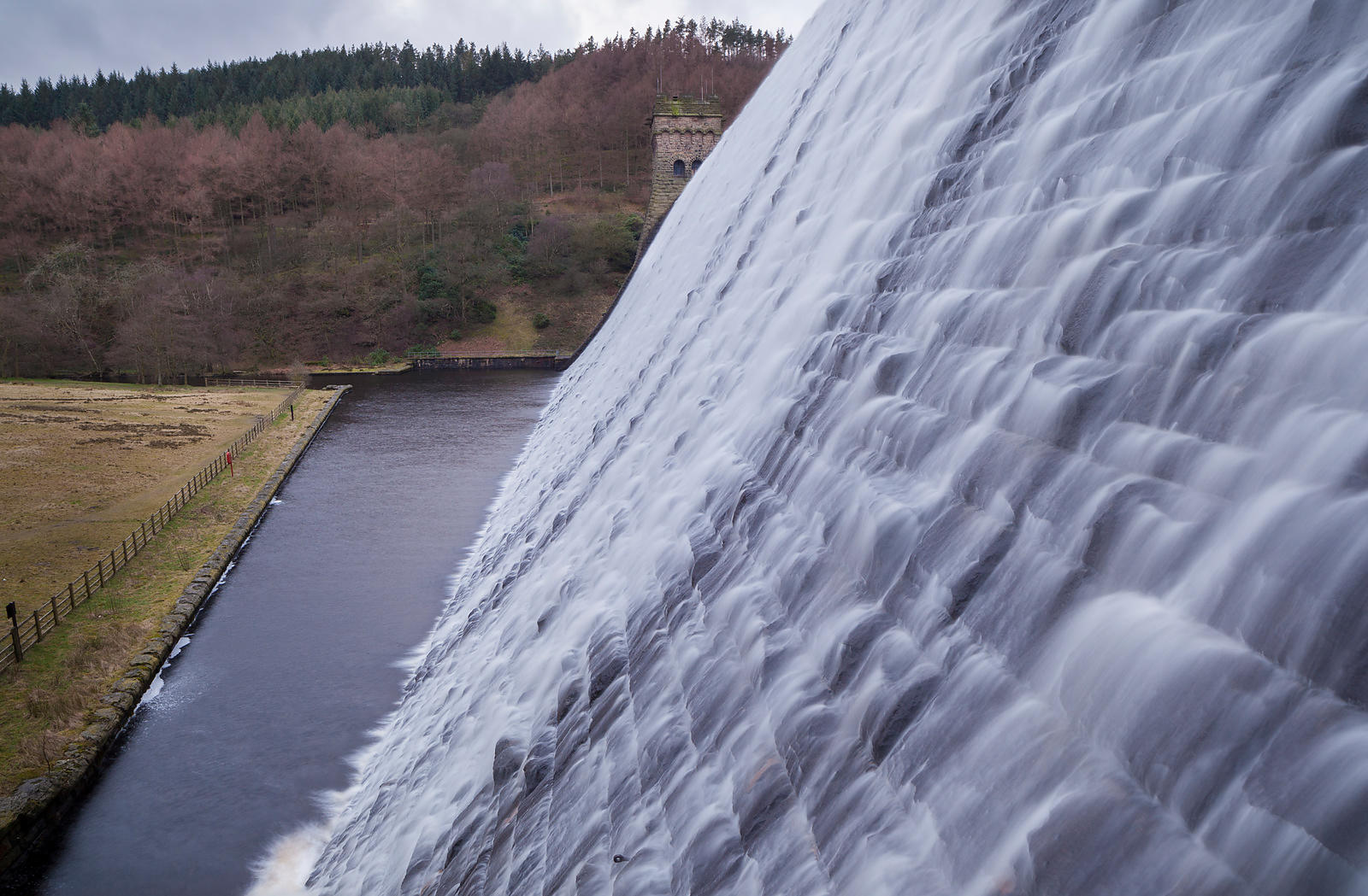 Winter flood at Derwent Dam